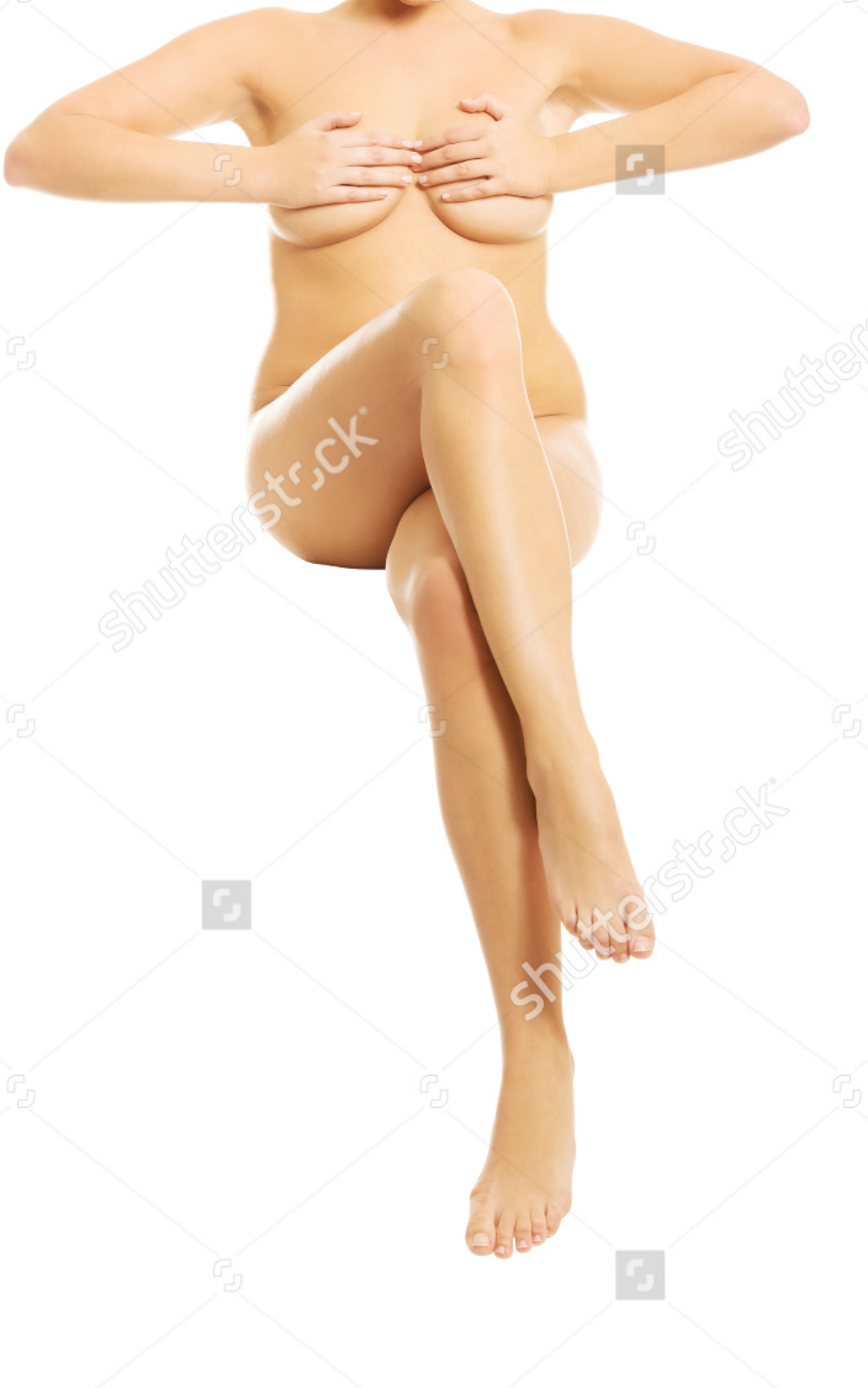 Nude Woman Putting Hands On Breasts.png