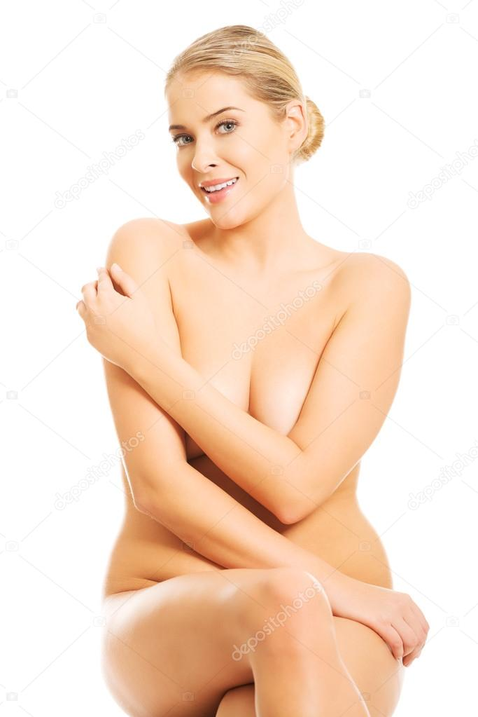 Nude Woman Sitting On Something Invisible Putting Arm On Breasts 4.jpg